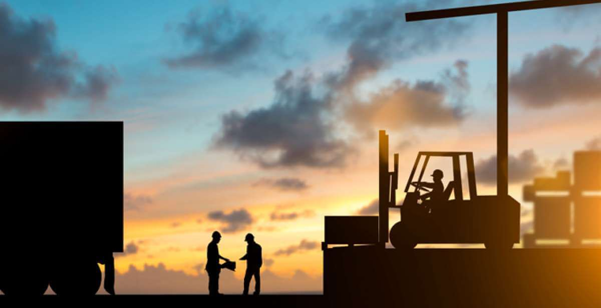 workers managing supply chain by moving goods, at sunrise